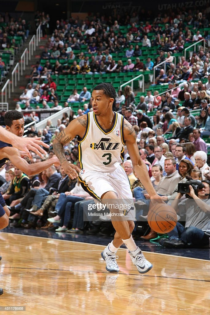 Trey Burke #3 of the Utah Jazz handles the ball against the New Orleans Pelicans at EnergySolutions Arena on April 04, 2014 in Salt Lake City, Utah.