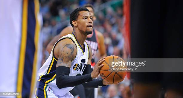 Trey Burke of the Utah Jazz looks to make a free throw against the Portland Trail Blazers at Vivint Smart Home Arena on November 4 2015 in Salt Lake...
