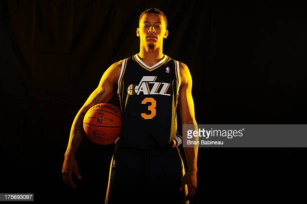 Trey Burke of the Utah Jazz poses for a portrait during the 2013 NBA rookie photo shoot on August 6 2013 at the Madison Square Garden Training...