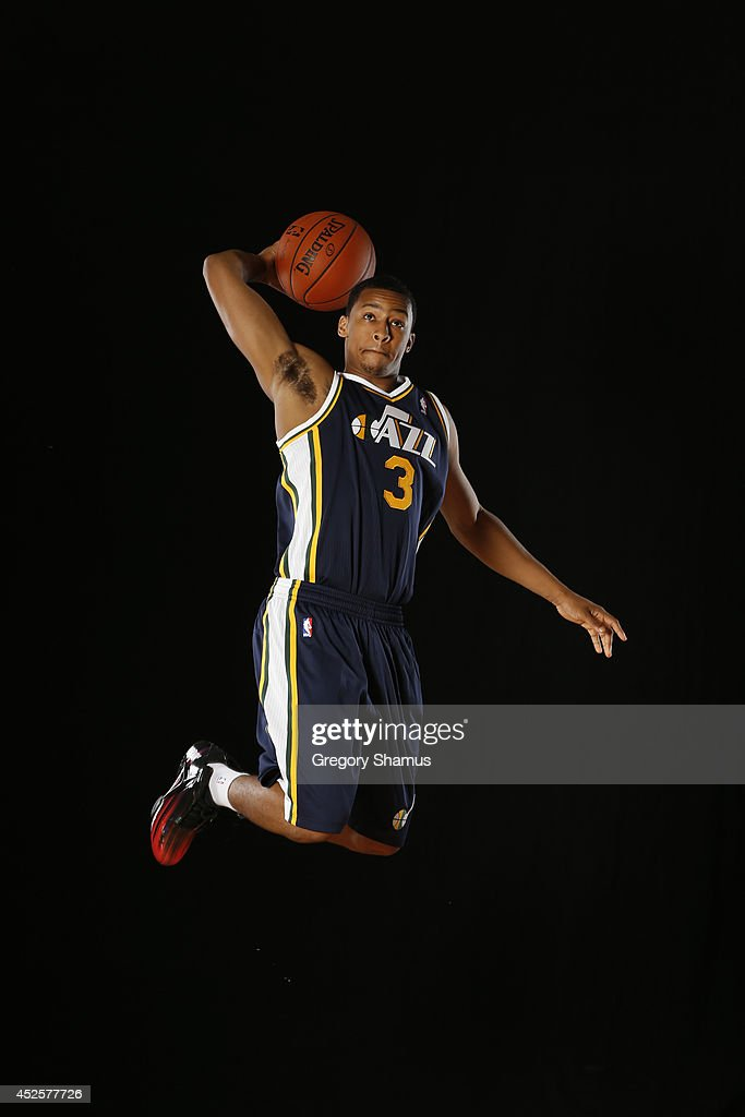 Trey Burke #3 of the Utah Jazz poses for a portrait during the 2013 NBA rookie photo shoot on August 6, 2013 at the Madison Square Garden Training Facility in Tarrytown, New York.