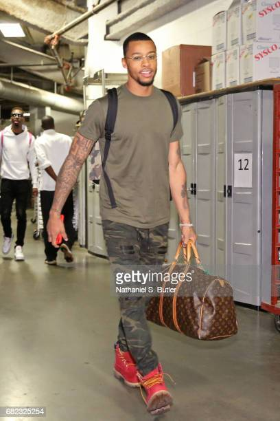 Trey Burke of the Washington Wizards arrives at the arena before Game Five of the Eastern Conference Semifinals against the Boston Celtics during the...