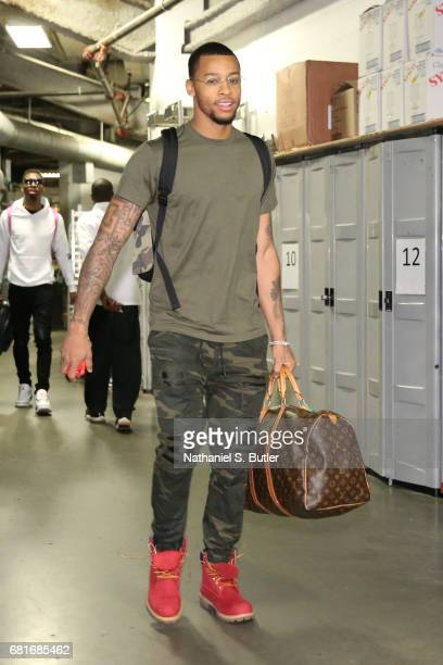 Trey Burke of the Washington Wizards arrives before the game against the Boston Celtics during Game Five of the Eastern Conference Quarterfinals of...