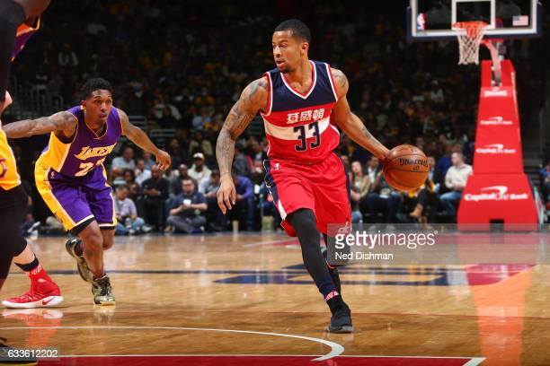 Trey Burke of the Washington Wizards drives to the basket against the Los Angeles Lakers during the game on February 2 2017 at Verizon Center in...