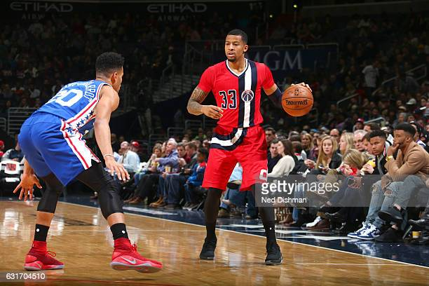 Trey Burke of the Washington Wizards handles the ball against the Philadelphia 76ers on January 14 2017 at Verizon Center in Washington DC NOTE TO...