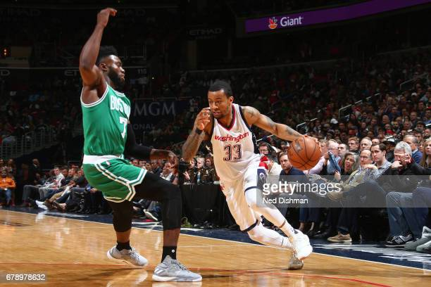 Trey Burke of the Washington Wizards handles the ball against the Boston Celtics in Game Three of the Eastern Conference Semifinals of the 2017 NBA...