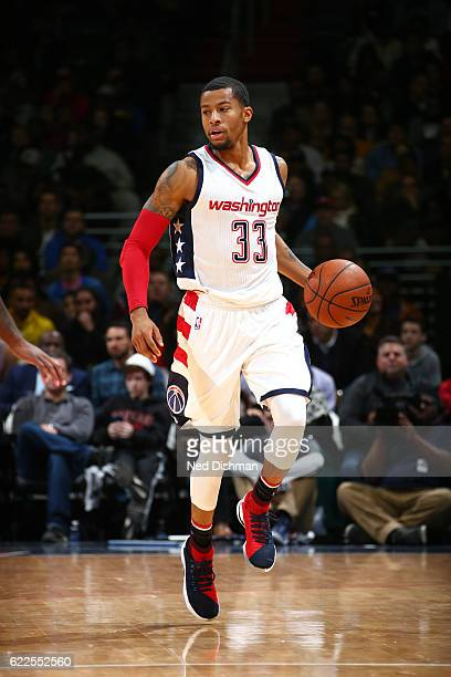 Trey Burke of the Washington Wizards handles the ball during the game against the Cleveland Cavaliers on November 11 2016 at Verizon Center in...