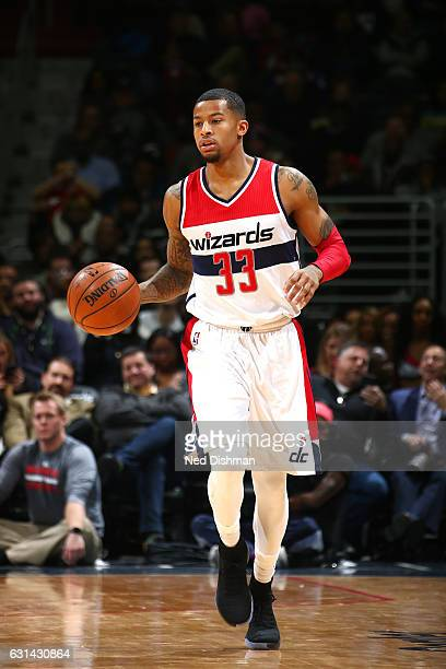 Trey Burke of the Washington Wizards handles the ball during the game against the Chicago Bulls on January 10 2017 at Verizon Center in Washington DC...