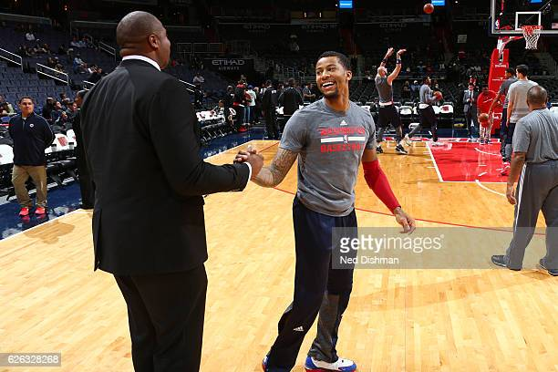 Trey Burke of the Washington Wizards is seen before the game against the Sacramento Kings on November 28 2016 at Verizon Center in Washington DC NOTE...