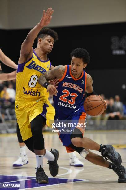 Trey Burke of the Westchester Knicks handles the ball against Scott Machado of the South Bay Lakers during an NBA GLeague game on December 15 2017 at...