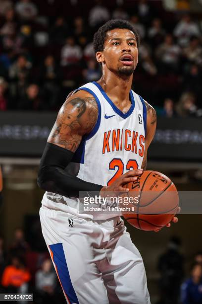 Trey Burke of the Westchester Knicks Shoots a free throw against the Lakeland Magic during an NBA GLeague game on November 19 2017 at Westchester...