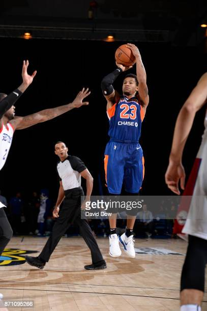 Trey Burke of the Westchester knicks shoots against the Delaware 87ers during the game at the Bob Carpenter Center in Newark Delaware on November 06...