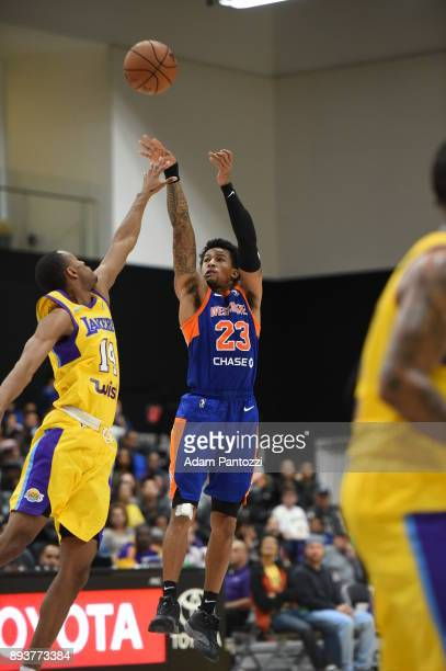 Trey Burke of the Westchester Knicks shoots the ball against the South Bay Lakers during an NBA GLeague game on December 15 2017 at UCLA Heath...