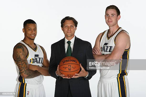 Trey Burke Quin Snyder Head Coach and Gordon Hayward of the Utah Jazz pose for a photo during the 2014 NBA Jazz Media Day at Zions Basketball Center...