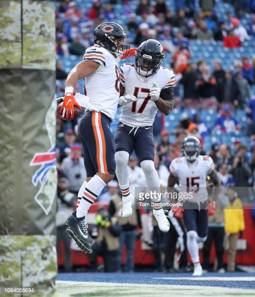 Trey Burton of the Chicago Bears celebrates after scoring a touchdown with Anthony Miller in the fourth quarter during NFL game action against the...