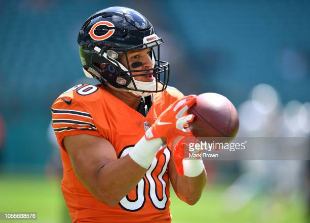 Trey Burton of the Chicago Bears warming up before the game against the Miami Dolphins at Hard Rock Stadium on October 14 2018 in Miami Florida