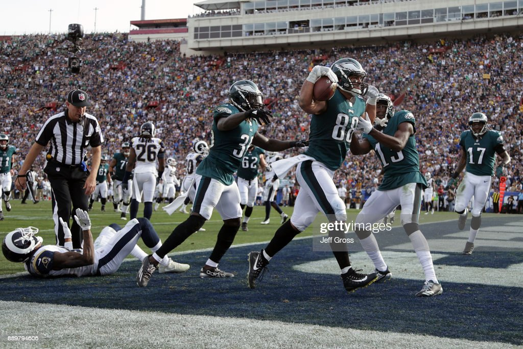 Trey Burton #88 of the Philadelphia Eagles celebrates after scoring a touchdown during the second quarter of the game against the Los Angeles Rams at the Los Angeles Memorial Coliseum on December 10, 2017 in Los Angeles, California.