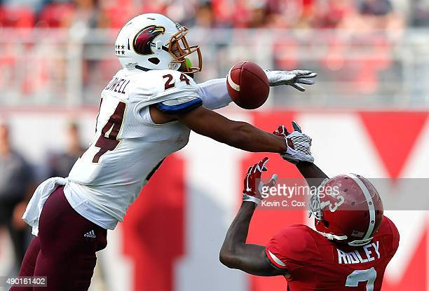 Trey Caldwell of the Louisiana Monroe Warhawks breaks up a pass intended for Calvin Ridley of the Alabama Crimson Tide at Bryant-Denny Stadium on...