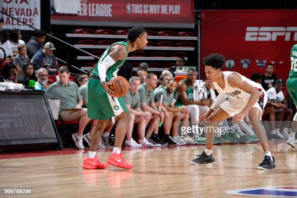 Trey Davis of the Boston Celtics handles the ball against the Portland Trail Blazers during the 2018 Las Vegas Summer League on July 15 2018 at the...