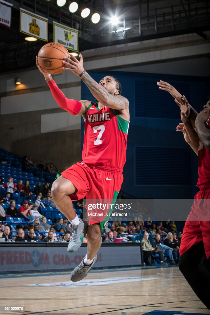 Trey Davis #7 of the Maine Red Claws goes for a lay up against the Delaware 87ers during a G-League game on March 13, 2018 at the Bob Carpenter Center in Newark, Delaware.