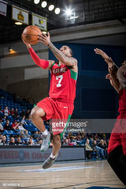 Trey Davis of the Maine Red Claws goes for a lay up against the Delaware 87ers during a GLeague game on March 13 2018 at the Bob Carpenter Center in...