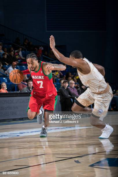 Trey Davis of the Maine Red Claws handles the ball against the Delaware 87ers during a GLeague game on March 13 2018 at the Bob Carpenter Center in...