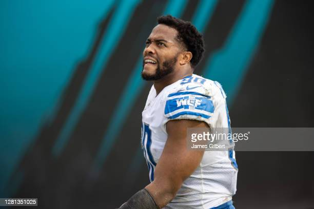 Trey Flowers of the Detroit Lions looks on as he exits the field after a game against the Jacksonville Jaguars at TIAA Bank Field on October 18, 2020...