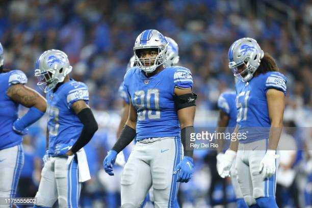 Trey Flowers of the Detroit Lions looks on in the third quarter during a game against the Los Angeles Chargers at Ford Field on September 15 2019 in...