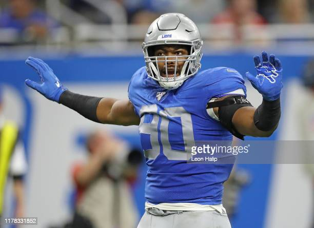Trey Flowers of the Detroit Lions reacts to a third down stop during the game against the Kansas City Chiefs at Ford Field on September 29 2019 in...
