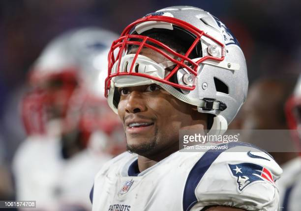 Trey Flowers of the New England Patriots looks on from the sideline during NFL game action against the Buffalo Bills at New Era Field on October 29...