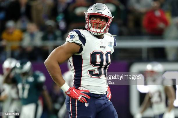 Trey Flowers of the New England Patriots looks on in the first half of Super Bowl LII at US Bank Stadium on February 4 2018 in Minneapolis Minnesota