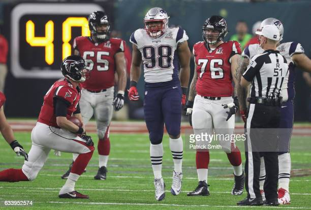 Trey Flowers of the New England Patriots reacts after a play in the fourth quarter against Matt Ryan of the Atlanta Falcons during Super Bowl 51 at...