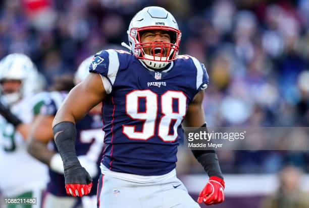 Trey Flowers of the New England Patriots reacts during the third quarter of a game against the New York Jets at Gillette Stadium on December 30 2018...