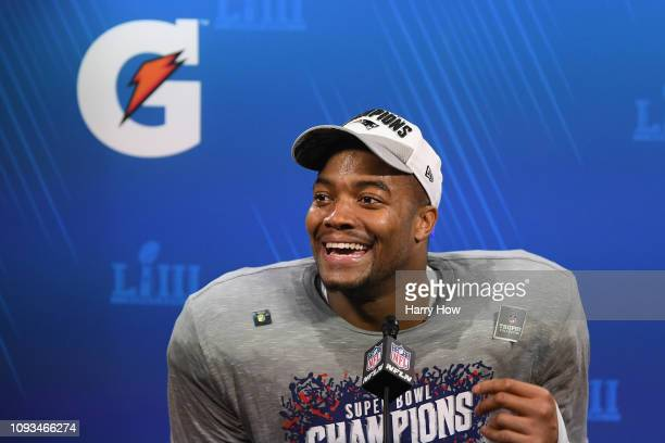 Trey Flowers of the New England Patriots speaks a press conference after the Patriots defeat the Los Angeles Rams 133 during Super Bowl LIII at...