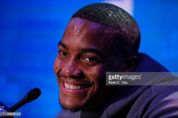 Trey Flowers of the New England Patriots talks to the media during Super Bowl LIII Opening Night at State Farm Arena on January 28 2019 in Atlanta...