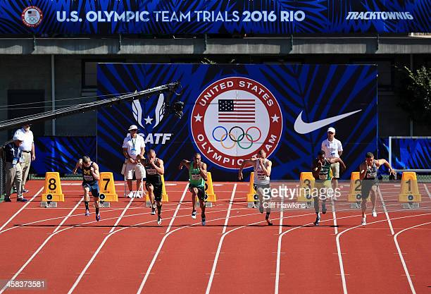 Trey Hardee, Ashton Eaton and Zach Ziemek run in the Men's 100m Decathalon during the 2016 U.S. Olympic Track & Field Team Trials at Hayward Field on...