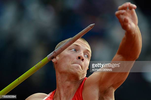 Trey Hardee competes in the men's decathlon javelin throw at the athletics event during the London 2012 Olympic Games on August 9, 2012 in London....