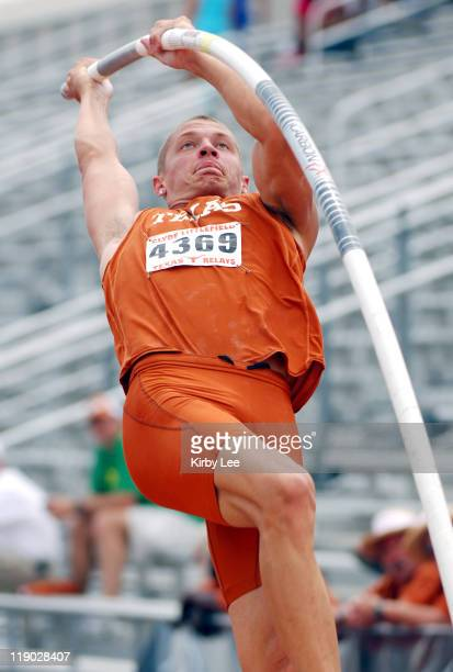 Trey Hardee of Texas competes in the Decathlon pole vault in the 79th Clyde Littlefield Texas Relays at the University of Texas' Mike A Myers Stadium...