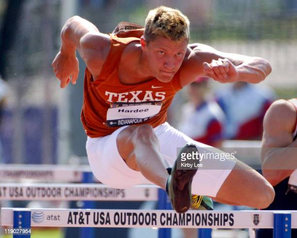 Trey Hardee of Texas timed 14.10 in the decathlon 110-meter high hurdles for the top time and 962 points in the USA Track & Field Championships at...
