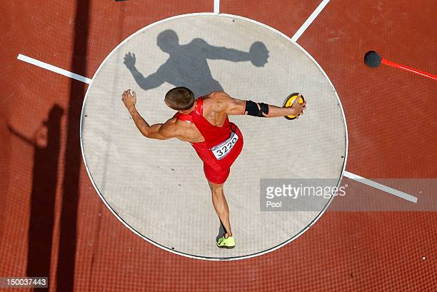 Trey Hardee of the United States competes during the Men's Decathlon Discus Throw on Day 13 of the London 2012 Olympic Games at Olympic Stadium on...