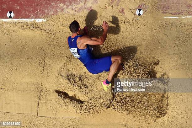 Trey Hardee of the United States competes in the Men's Decathlon Long Jump during day eight of the 16th IAAF World Athletics Championships London...