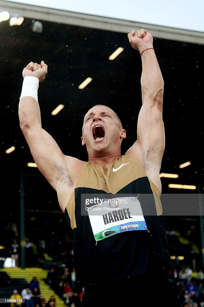 Trey Hardee reacts after competing in the shot put portion of the decathlon during Day One of the 2012 U.S. Olympic Track & Field Team Trials at Hayward Field on June 22, 2012 in Eugene, Oregon.