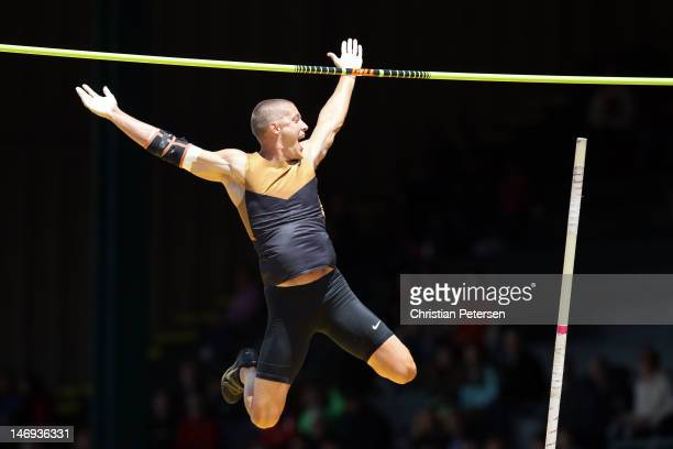 Trey Hardee reacts while competing in the men's decathlon pole vault during Day Two of the 2012 US Olympic Track Field Team Trials at Hayward Field...