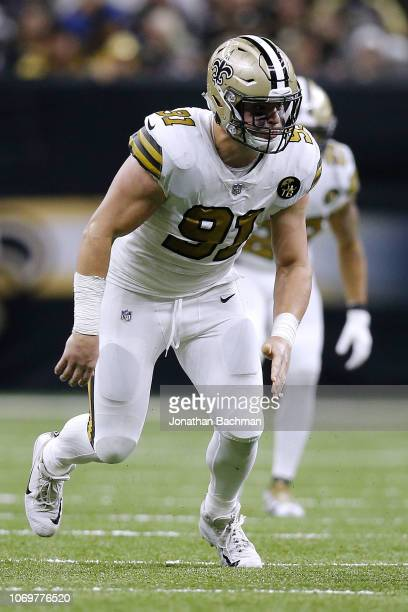 Trey Hendrickson of the New Orleans Saints defends during a game against the Philadelphia Eagles at the MercedesBenz Superdome on November 18 2018 in...
