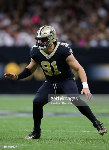 Trey Hendrickson of the New Orleans Saints in action during a game against the Arizona Cardinals at the Mercedes Benz Superdome on October 27 2019 in...