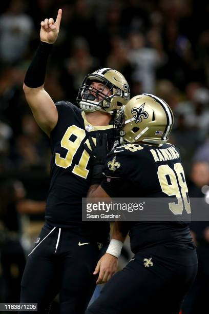 Trey Hendrickson of the New Orleans Saintsreacts after a sack during a NFL game during a game against the New Orleans Saintsat the Mercedes Benz...