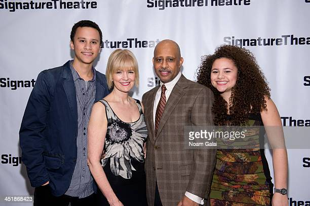 Trey Hudson Jeannie Santiago Ruben SantiagoHudson and Lily Hudson attend How I Learned What I Learned opening night at Signature Theatre Company's...