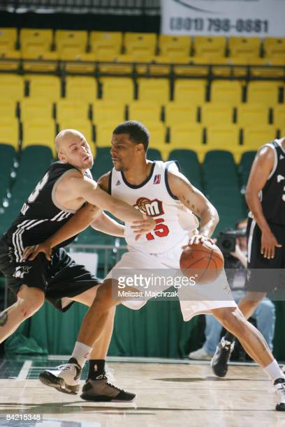 Trey Johnson of the Bakersfield Jam shields the ball from Brian Morrison of the Austin Toros at McKay Events Center during the NBA DLeague Showcase...