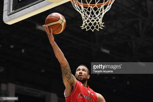 Trey Jones of the Chiba Jets lays the ball up during the B.League Early Cup Kanto 3rd Place Game between Chiba Jets and Sun Rockers Shibuya at Brex...