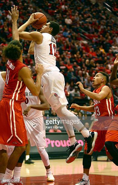 Trey Kell of the San Diego State Aztecs shoots the ball in the second half of the game against the Cal-State Northridge Matadors at Viejas Arena on...