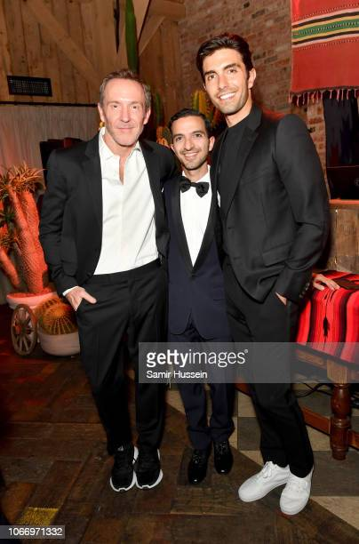 Trey Laird Imran Amed and Akin Akman attend the gala dinner in honour of Stella McCartney winner of the Global VOICES Award for 2018 during...